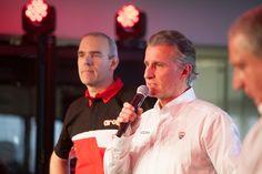 Intervento di Paolo Ciabatti, Ducati Corse Sporting Director. Accanto, Ernesto Marinelli, Technical Director del Team