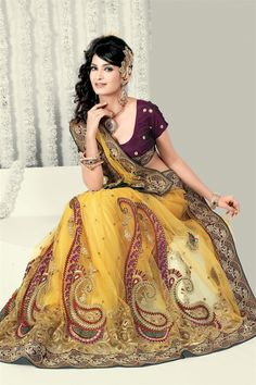 111 Pretty yellow net saree.