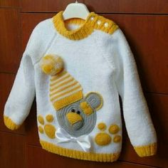 Set 'Sunny Bear' or my little repeater. - Knitting for kids - Nation Mothers Baby Boy Knitting Patterns, Baby Sweater Knitting Pattern, Knit Baby Sweaters, Knitted Baby Clothes, Knitting For Kids, Knitting Designs, Knit Patterns, Crochet Clothes, Hand Knitting