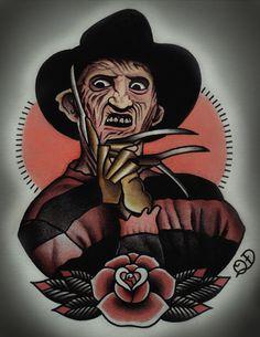 Freddy Krueger Tattoo Art Print by ParlorTattooPrints on Etsy https://www.etsy.com/listing/164914185/freddy-krueger-tattoo-art-print