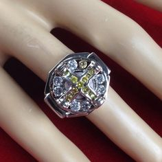 I'm auctioning 'Vintage Designer Stamped GM Platinum Plated over Sterling Silver Yellow Citrine White Sapphire Signet Ring CK 124' on #tophatter