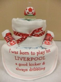 Nappy Cakes and Baby Gifts-GinasBabyBoom - Liverpool FC Nappy Cake, £17.00 (http://www.ginasbabyboom.co.uk/liverpool-fc-nappy-cake/)