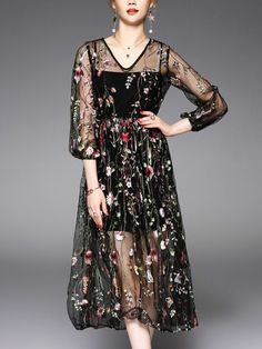2ad6583856 Black Two-piece Floral Embroidered Swing Dress