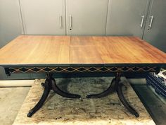 Gorgeous Pecan Duncan Phyfe table with a built-in extension leaf lovingly stripped and embellished with stain, black paint, and gold pin-striping. $699 at Tamara's Timeless Treasures. Tamarabeard1@gmail.com