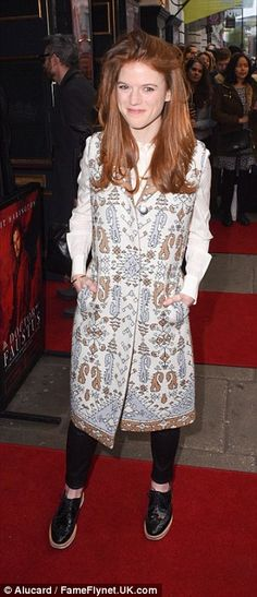 Supportive girlfriend: KRose Leslie - who played wildling Ygritte in GoT - sported a patte...