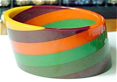 Striped Vintage Bangle (BAKELITE, CELLULOID ...