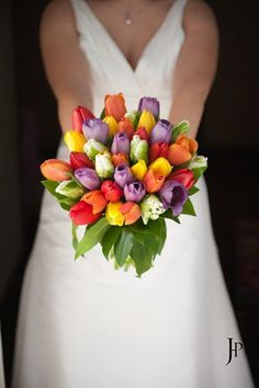 Bright And Colorful Tulip Bouquet Weddingbridal