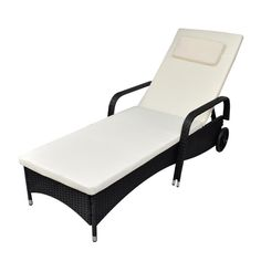 Patio Daybed Sun Lounger Outdoor Garden Portable Rattan On Wheels Yard Furniture #PatioDaybedSunLounger