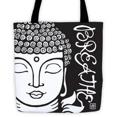 Buddha/Breathe - Tote bag with black straps (see more colors)