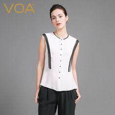 VOA 2018 Spring Summer Sleeveless White Silk Blouse Brief Office Lady Slim Shirt Plus Size Formal Women Basic Tops B6921