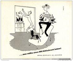 Original-Werbung/ Anzeige 1954 - BBC KÜHLSCHRÄNKE / MANNHEIM (CARTOON) - ca. 135 x 110 mm