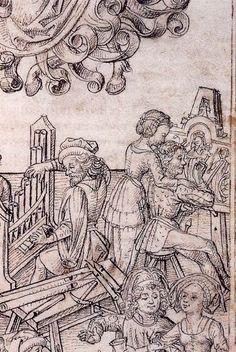 Master of the Housebook. Children of Mercury (Detail). c. 1475/1485. Schloß Wolfegg / Sammlung Fürst von Waldberg zu Wolfegg und Waldsee. Wolfegg, Germany. Bildindex der Kunst und Architektur.