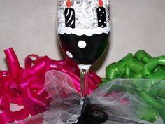 Hand Painted Wine Glass 40th Birthday READY by ArtworkByKimTyson, $13.75
