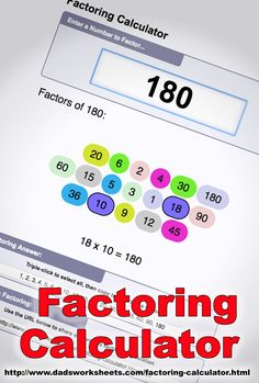 "Factoring Calculator This calculator uses a technique called ""trial division"" to find the factors for a number. To find the factors for a number, simply enter it at the top of the calculator and it will be decomposed instantaneously. Math 8, Math Multiplication, Basic Math, Fun Math, Free Printable Math Worksheets, Free Printables, Number Theory, Math Tools"