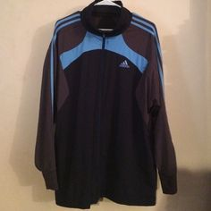 Mens XL Adidas soccer LaFleurs Warmup track Jacket Anazing Mens Adidas LaFleurs Xl soccer Warmup Track jacket. This is a gently worn supercool multicolored jacket . The colors are black, dark gray, and baby blue. The Adidas sripes and lettering are baby blue . The tag is cut out. I personally tried this coat on and was able to determine the size. Very rare coat. Adidas Jackets & Coats Utility Jackets