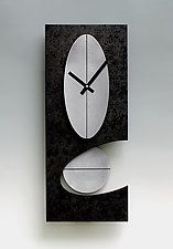 "Black and Steel 24 Oval Pendulum Clock by Leonie  Lacouette (Wood & Metal Clock) (24"" x 10"")"