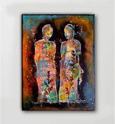 mixed media figure painting on canvas nika rouss