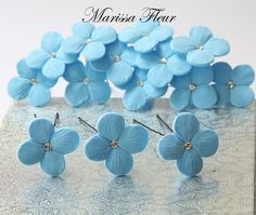 Blue Hydrangea Hair Pins With Clear Swarovski Rhinestones, Set Of 6, For Bride, Bridesmaids Or Flower Girl, Perfect Something Blue Piece. $25.00, via Etsy.