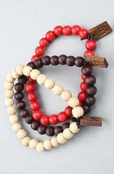 The GW Bracelet 3-Pack in Natural, Red, & Brown by GoodWood #karmaloop