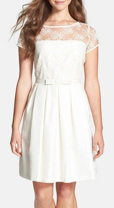 Taylor Dresses Lace Bodice Shantung Fit & Flare Dress