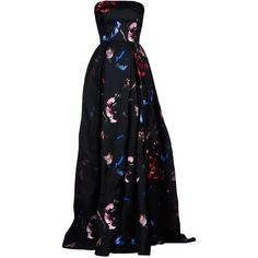 Elie Saab Long Dress ($1,680) ❤ liked on Polyvore featuring dresses, gowns, long dresses, black, long floral dresses, sleeveless floral dress, floral print long dress, floral print dress and elie saab gowns