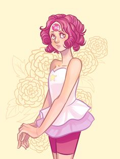 anyways here's a gem swapped!Pearl with Rose Quartz -- Steven Universe