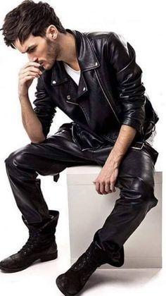 Mens Leather Pants, Black Leather Biker Jacket, Lambskin Leather Jacket, Men's Leather, Bike Leathers, Teenage Guys, Leather Fashion, Motorcycle Jacket, Jackets