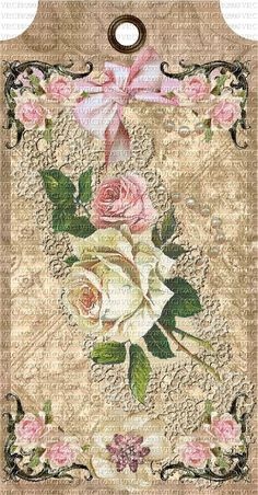 Victorian Rose Tags | Attic Grunge Roses & Cherubs Gift Tags Printable, Printable Art, Decoupage, Gift Wraping, Lost Art, Vintage Tags, Chipboard, Fabric Dolls, Cherub
