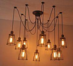 Loft Vintage industrial Spider Ceiling Pendant Light Chandelier Fixture Lighting