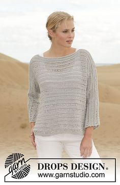 """Mistral in DROPS Cotton Light by Garnstudio (DK / 8 ply; 50% Cotton, 50% Polyester; 115 yds, 50g, 21 st on US 6). Pattern gauge 18 st and 30 rows = 4"""" on US 7."""