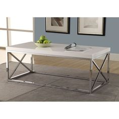 Monarch Specialties Modern Coffee Table for Living Room Center Table with Metal Frame, 44 Inch L, Glossy White / Chrome My Living Room, Living Room Furniture, Home Furniture, Garden Furniture, Furniture Outlet, Online Furniture, Cherry Furniture, Parks Furniture, Apartment Furniture