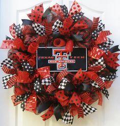College Wreath, deco mesh wreath with Texas Tech sign, Texas Tech Wreath, mesh… Black Wreath, Sports Wreaths, Football Wreath, Burlap Door Hangers, Deco Mesh Wreaths, Burlap Wreaths, Door Wreaths, Texas Tech Red Raiders, Mesh Ribbon