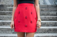 DIY RED JEWELED SKIRT - great idea for any color
