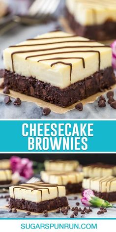 Brownie Cheesecake Bars -- fudgy brownies with a thick layer of real, rich, cheesecake on top || Sugar Spun Run Cheesecake Deserts, Brownie Cheesecake, Brownie Recipes, Cheesecake Recipes, Chocolate Recipes, Cookie Recipes, Dessert Recipes, Bar Recipes, Chocolate Lovers