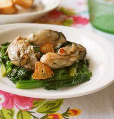 活用レシピ☆オイルも使って♪牡蠣のオイル漬けとほうれん草のソテー♡