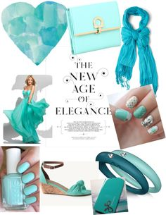 """Aqua: Color of the day"" by evabagel ❤ liked on Polyvore"