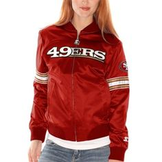 San Francisco 49ers Womens Starter Blitz Satin Jacket - Scarlet