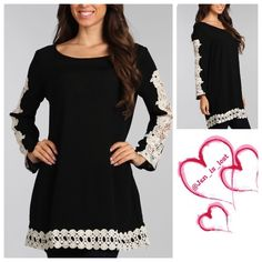 Crochet Tunic Medium Solid tunic top with crochet panel detail and long sleeves. 100% rayon. You like the leggings I have them too!! No Trades  ✅ Price Firm Unless Bundling✅ Tops