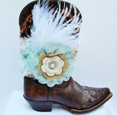 Aqua Flower Cowgirl Boot Bracelet, Burlap, Lace and Feathers Western Boot Bling, Ribbon Lace Burlap and Pearls Cowgirl Boot Bracelet by Louisefashionjewelry on Etsy