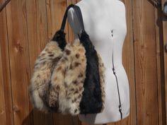 Real Large Tan Lynx and Black Mink Fur Bag  Handmade in USA SALE was 210 #Handmade #ShoulderBag