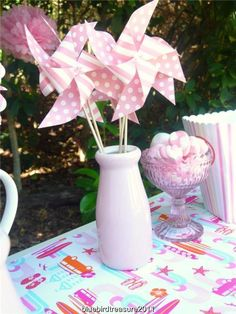 Pink paper windmill set of 6 Kids party Supplies decoration, wedding babyshower