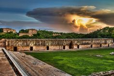 A view of the Mayan city of Uxmal from the Quadrangle of the Nunnery