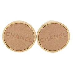 Pre-Owned Chanel #9217 Beige Lamskin Logo Gold Hardware Clip on... ($170) ❤ liked on Polyvore featuring jewelry, earrings, brown, chanel jewellery, dot earrings, polka dot jewelry, logo earrings and polka dot earrings