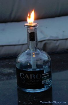 Cabo Wabo Tequila Bottle tiki torch