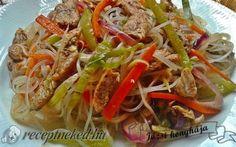 Érdekel a receptje? Kattints a képre! Wok, Japchae, Cabbage, Bacon, Spaghetti, Meals, Vegetables, Cooking, Ethnic Recipes