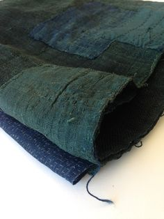 Antique Japanese Indigo and Green handwoven Boro Patched Kaya Textile - Mujo.