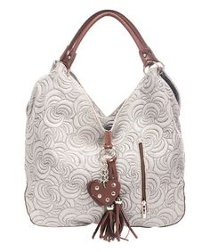 Another great find on #zulily! Gray Leather Swirl-Embossed Hobo #zulilyfinds