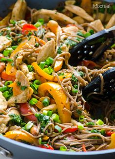 Healthy Peanut Chicken Soba Noodles Recipe with bell peppers, kale and delicious sauce. 30 minute dinner idea your husband and kids will actually eat.   ifoodreal.com