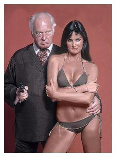 Caroline Munro as Naomi with Curt Jurgens as Karl Stromberg, The Spy Who Loved Me (1977)