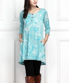 Blue Abstract Button-Front Side-Pocket Tunic - Plus Too